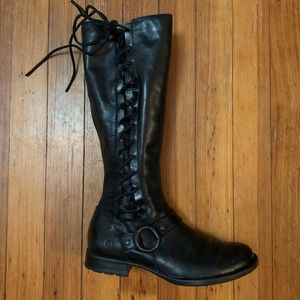 Born side lace /zip black leather knee hi boots 8